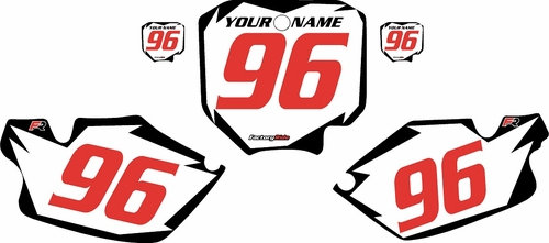 1996-2002 Honda CR80 Pre-Printed Backgrounds White - Black Shock - Red Numbers by FactoryRide