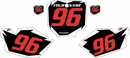 1996-2002 Honda CR80 Pre-Printed Backgrounds Black - White Shock - Red Numbers by FactoryRide