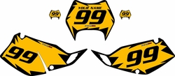 1997-2008 Kawasaki KLX300 Custom Pre-Printed Yellow Background - Black Shock Series by Factory Ride