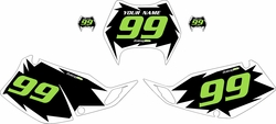 1997-2008 Kawasaki KLX300 Pre-Printed Black Background - White Shock Series - Green Number by Factory Ride