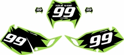 1997-2008 Kawasaki KLX300 Custom Pre-Printed Background Black - Green Shock Series by Factory Ride