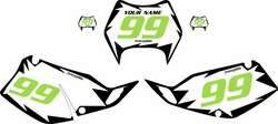 1997-2008 Kawasaki KLX300 Pre-Printed White Background - Black Shock Series - GreenNumber by Factory Ride