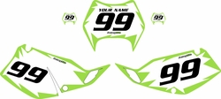 1997-2008 Kawasaki KLX300 Custom Pre-Printed White Background - Green Shock Series by Factory Ride