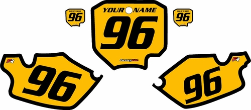 1996-2002 Honda CR80 Pre-Printed Backgrounds Yellow - Black Bold Pinstripe by FactoryRide