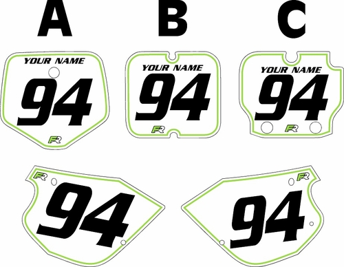 1991-1997 Kawasaki KX80 Pre-Printed Backgrounds White - Green Pinstripe by FactoryRide