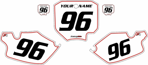 1996-2002 Honda CR80 White Pre-Printed Background - Red Pinstripe by FactoryRide