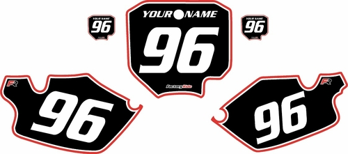 1996-2002 Honda CR80 Pre-Printed Backgrounds Black - Red Pro Pinstripe by FactoryRide