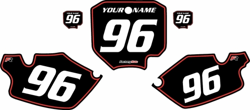1996-2002 Honda CR80 Black Pre-Printed Background - Red Pinstripe by FactoryRide