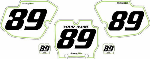 1989-1995 Kawasaki KX500 Pre-Printed Backgrounds White - Green Pinstripe by FactoryRide