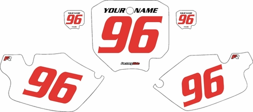 1996-2002 Honda CR80 Pre-Printed Backgrounds White - Red Numbers by FactoryRide