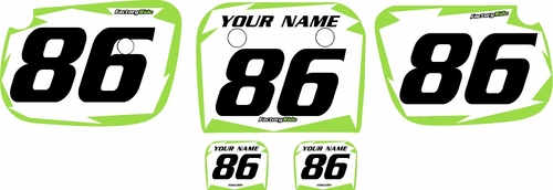 1986-2004 Kawasaki KX60 Pre-Printed Backgrounds White - Green Shock Series by FactoryRide