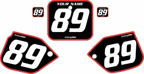 1989-1990 Honda CR500 Pre-Printed Backgrounds Black - Red Bold Pinstripe by FactoryRide