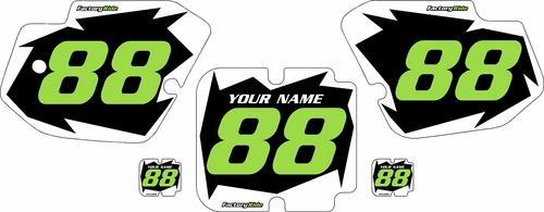 1988-1989 Kawasaki KX250 Pre-Printed Black Background - White Shock Series - Green Number by Factory Ride