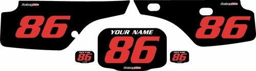 1986-1995 Honda XR250 Pre-Printed Backgrounds Black - Red Numbers by FactoryRide
