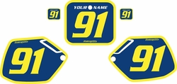 Fits Honda CR125 1991-1992 Blue Pre-Printed Backgrounds - Yellow Bold Pinstripe by FactoryRide