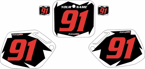 1991-1992 Honda CR125 Pre-Printed Backgrounds Black - White Shock - Red Numbers by FactoryRide
