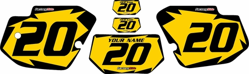 1989-1994 Kawasaki KDX200 Custom Pre-Printed Yellow Background - Black Shock Series by Factory Ride