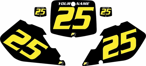1999-2000 Suzuki RM125 Pre-Printed Backgrounds Black - Yellow Numbers by FactoryRide
