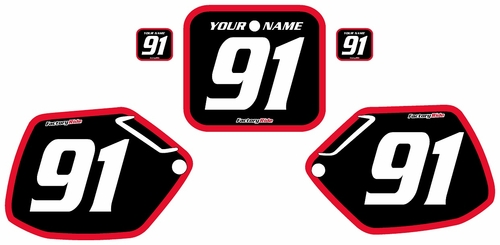 1991-1992 Honda CR125 Pre-Printed Backgrounds Black - Red Bold Pinstripe by FactoryRide
