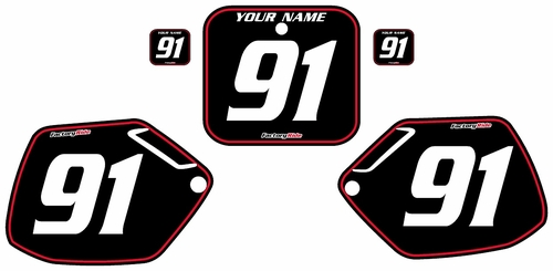 1991-1992 Honda CR125 Pre-Printed Backgrounds Black - Red Pinstripe by FactoryRide