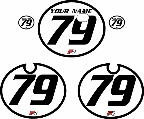 1979 Kawasaki KX250 White Pre-Printed Backgrounds - Black Bold Pinstripe by FactoryRide