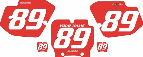 1989-1995 Kawasaki KX500 Custom Pre-Printed Red Background - White Numbers by Factory Ride