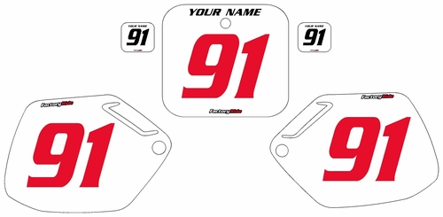 1991-1992 Honda CR125 Pre-Printed Backgrounds White - Red Numbers by FactoryRide