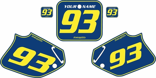 1993-1994 Honda CR125 Blue Pre-Printed Backgrounds - Yellow Pinstripe by FactoryRide