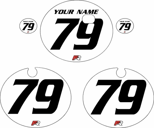 1979 Kawasaki KX250 White Pre-Printed Backgrounds - Black Numbers by FactoryRide