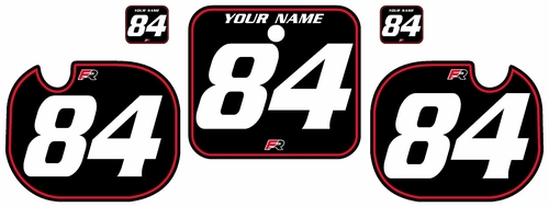 1984 Honda CR500 Pre-Printed Backgrounds Black - Red Pinstripe by FactoryRide