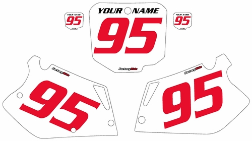 1995-1996 Honda CR250 Pre-Printed Backgrounds White - Red Numbers by FactoryRide