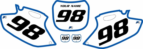 1998-1999 Yamaha YZF400 Pre-Printed Backgrounds White - Blue Bold Pinstripe by FactoryRide