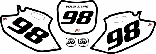 1998-1999 Yamaha YZF400 White Pre-Printed Background - Black Bold Pinstripe by Factory Ride