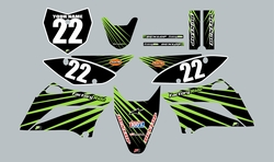 2010-2021 Kawasaki-KLX110-L Full Graphics Kit - Black with Green Lines by Factory Ride