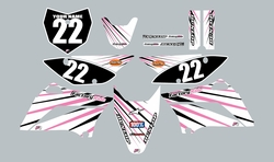 2010-2021 Kawasaki-KLX110-L Full Graphics Kit - White with Pink Lines by Factory Ride
