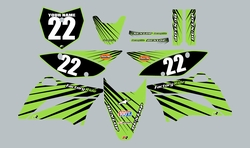 2010-2021 Kawasaki-KLX110-L Full Graphics Kit - Green with Black Lines by Factory Ride