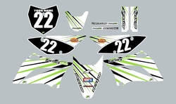 2010-2021 Kawasaki-KLX110-L Full Graphics Kit - White with Green Lines by Factory Ride