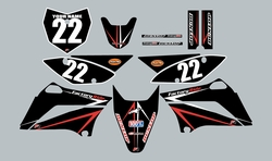 2010-2021 Kawasaki KLX110 Full Graphics Kit - Black with Red and White Arrows by Factory Ride