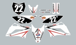 2010-2021 Kawasaki KLX110 Full Graphics Kit - White with Red and Black Arrows by Factory Ride