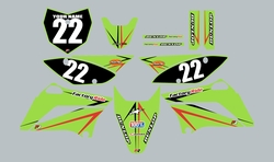 2010-2021 Kawasaki KLX110 Full Graphics Kit - Green with Red and Black Arrows by Factory Ride