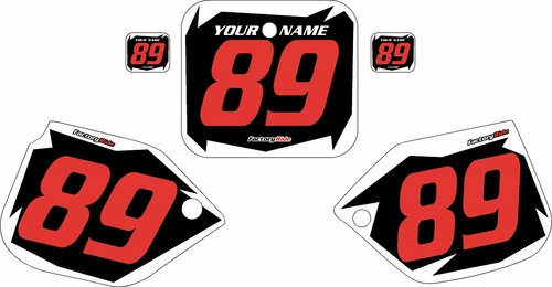 1989-1990 Honda CR125 Pre-Printed Backgrounds Black - White Shock - Red Numbers by FactoryRide