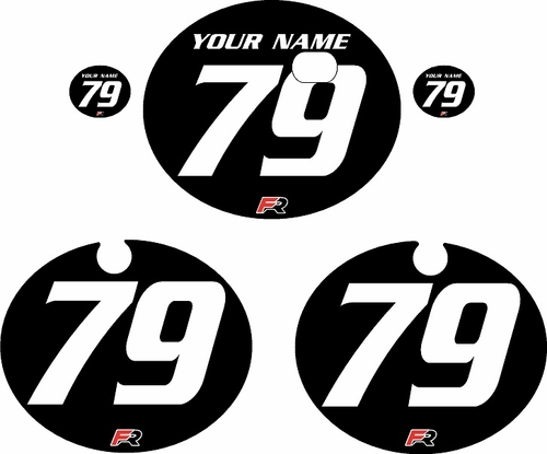 1979 Kawasaki KX250 Black Pre-Printed Backgrounds - White Numbers by FactoryRide