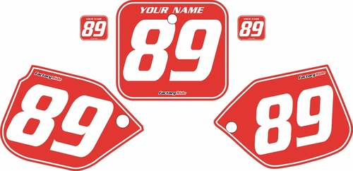 1989-1990 Honda CR125 Pre-Printed Backgrounds Red - White Pinstripe by FactoryRide