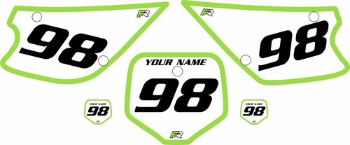 1998-2000 Kawasaki KX80 Pre-Printed Backgrounds White - Green Bold Pinstripe by FactoryRide