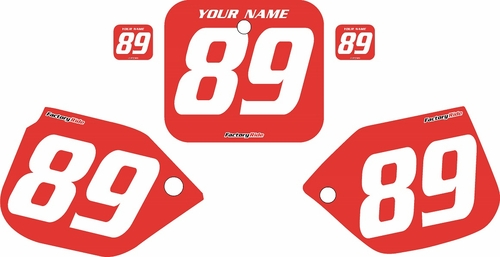 1989-1990 Honda CR125 Pre-Printed Backgrounds Red - White Numbers by FactoryRide