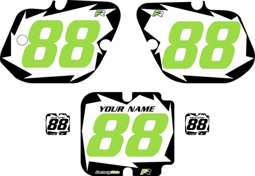 1987 Kawasaki KX250 Pre-Printed White Background - Black Shock Series - Green Number by Factory Ride