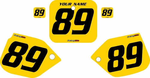 1989-1990 Honda CR125 Pre-Printed Backgrounds Yellow - Black Numbers by FactoryRide