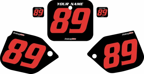 1989-1990 Honda CR125 Pre-Printed Backgrounds Black - Red Numbers by FactoryRide