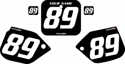 1989-1990 Honda CR125 Custom Black Pre-Printed Background - White Numbers by Factory Ride