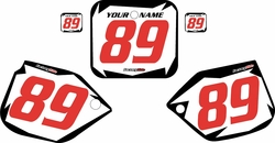 1989-1990 Honda CR500 Pre-Printed Backgrounds White - Black Shock - Red Numbers by FactoryRide